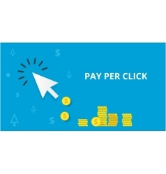 Blue arrow and many coins pay per click marketing vector