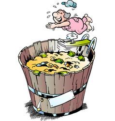 Cartoon of a rich pensioner who took a bath in vector