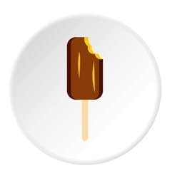Chocolate ice cream on wooden stick icon vector image