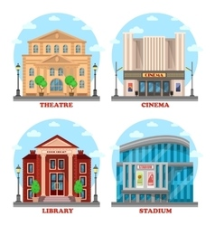 Cinema building library architecture vector image