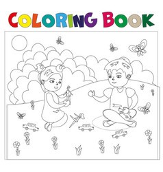 coloring book with kids vector image vector image