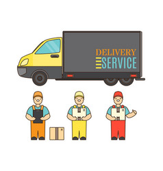 delivery service concept poster in cartoon style vector image