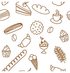 Edible seamless pattern with bread rolls cakes vector