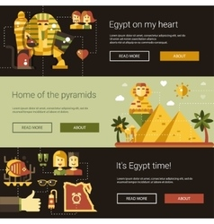 Flat design egypt travel banners set with famous vector