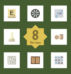 Flat icon games set of lottery labyrinth mahjong vector