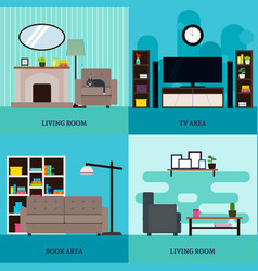Flat living room interior square concept vector