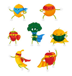 Funny fruit and berry hero superhero characters vector