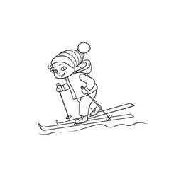 Happy boy skiing winter sport black and white vector