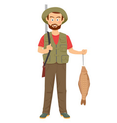 Happy hunter with shotgun and fish in hand vector
