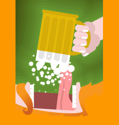 Leprechaun drinking beer scary gnome reddish vector
