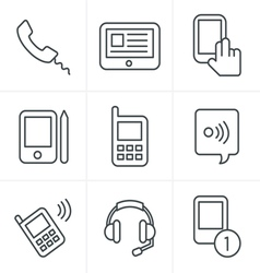 Line Icons Style black phone icons set on gray vector image vector image
