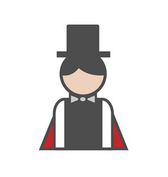 Magician avatar icon on white background vector