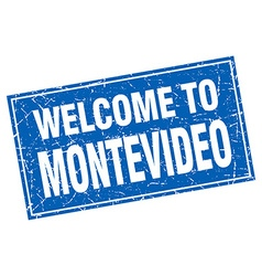 Montevideo blue square grunge welcome to stamp vector