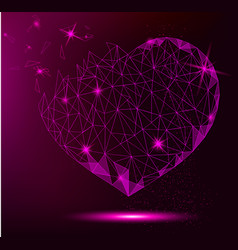 polygonal heart on violet background for greeting vector image vector image