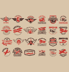 Set of airplane training center emblems design vector