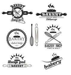 Set of vintage retro bakery logo badges and labels vector image