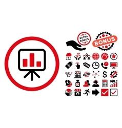 Slideshow screen flat icon with bonus vector