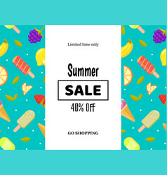 summer sale banner poster with fruits and ice vector image