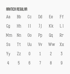 thin serif font contains uppercase vector image