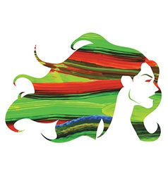 Watercolor woman with long hair vector