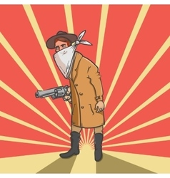 Wild west robber with gun hand drawn vector image vector image