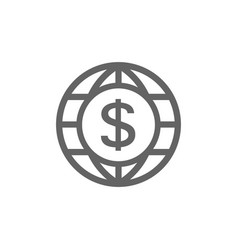 world and dollar icon combination vector image vector image