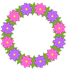 Wreath of pink and purple flowers on a white vector