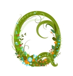 Letter Q floral latin decorative character vector image