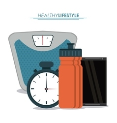 Weight chronometer bottle icon healthy lifestyle vector