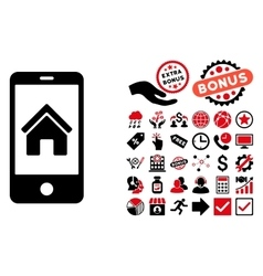 Smartphone homepage flat icon with bonus vector