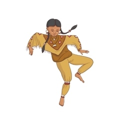 Native american dancing indian girl in vector