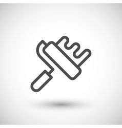 Paint roller line icon vector image