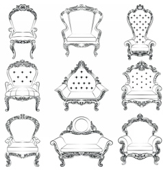 Baroque luxury style armchair furniture set vector