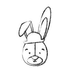 Monochrome contour blurr with face of groom rabbit vector