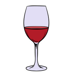Red wine in glass icon cartoon vector