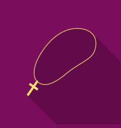 golden christian rosary icon in flat style vector image