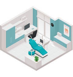 Isometric dental clinic icon vector