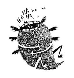 Sketchy monster crazy laughter flying vector