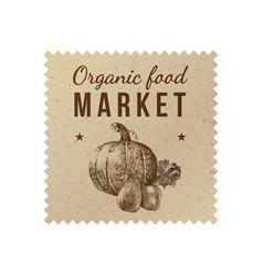Organic food market label vector