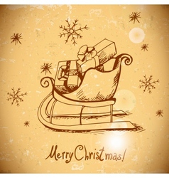 Vintage greeting card with christmas sleigh vector