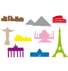 World monuments silhouettes vector image
