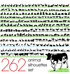 262 animals silhouettes set vector