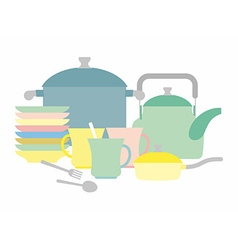 Kitchen utensils kettle and mugs set of plates vector