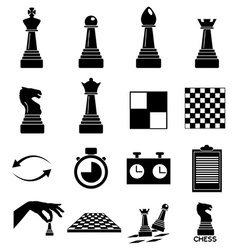 Chess icons set vector