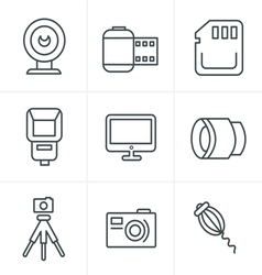 Line icons style photography icons set design vector