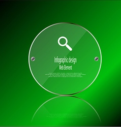 Glass ring template element on green background vector