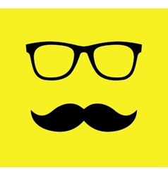Mustache and glasses flat vector
