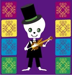 Skull boy with violin vector