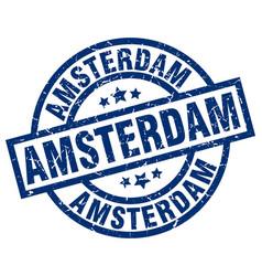 Amsterdam blue round grunge stamp vector