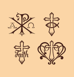 Ancient christian symbols vector